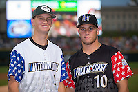 (L-R) Trent Alley of Charlotte Country Day School and Riley Zayicek of Lake Norman High School prior to competing in the 29th Annual Triple-A Home Run Derby at BB&T BallPark on July 11, 2016 in Charlotte, North Carolina.   (Brian Westerholt/Four Seam Images)