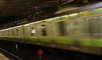 A JR train on the Yamanote line in Tokyo, Japan.