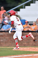 Johnson City Cardinals left fielder DeAndre Asbury-Heath (5) runs to first during a game against the Kingsport Mets on June 25, 2015 in Johnson City, Tennessee. The Mets defeated the Cardinals 10-8 (Tony Farlow/Four Seam Images)