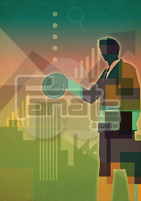 Illustrative image of businessman inserting money representing investment