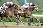 Caleb's Posse ridden by Rajiv Maragh edges 2 Year Old Champion Uncle Mo by a nose at the wire to win  the Foxwoods King's Bishop Stakes (Grade I) at  Saratoga Race Course in Saratoga Springs, NY  on 8/27/11. Trained by Donnie Von Hemel (Ryan Lasek / Eclipse Sportwire)