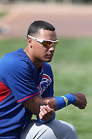 Javier Baez of the Chicago Cubs during a Minor League Spring Training Game against the Los Angeles Angels at the Los Angeles Angels Spring Training Complex on March 23, 2014 in Tempe, Arizona. (Larry Goren/Four Seam Images)