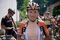 Johnny Hoogerland (NLD/Roompot) takes the 2nd neutralisation lighthearted and waits for decisions to be made (by the police and race director) about the cancelling or continuation of the race.<br /> <br /> 90th Schaal Sels 2015