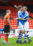 Dundee United v St Johnstone.....04.05.13      SPL.Murray Davidson and Steven Anderson celebrate at full time.Picture by Graeme Hart..Copyright Perthshire Picture Agency.Tel: 01738 623350  Mobile: 07990 594431