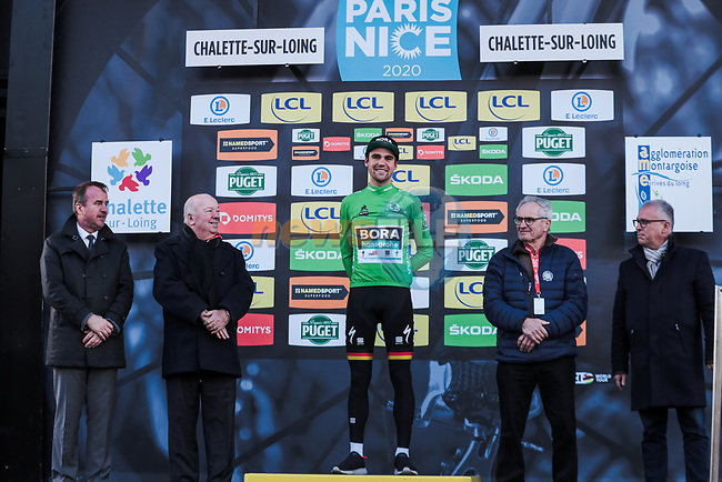 Race leader Maximilian Schachmann (GER) Bora-Hansgrohe also retains the Green Jersey on the podium at the end of Stage 2 of the 78th edition of Paris-Nice 2020, running 166.5km form Chevreuse to Chalette-sur-Loing, France. 9th March 2020.<br /> Picture: ASO/Fabien Boukla | Cyclefile<br /> All photos usage must carry mandatory copyright credit (© Cyclefile | ASO/Fabien Boukla)