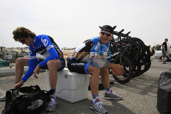 Garmin-Cervelo riders Johan Van Summeren (BEL) and Robert Hunter (RSA) chill before the start of Stage 4 of the 2012 Tour of Qatar from Al Thakhira to Madinat Al Shamal, Qatar. 8th February 2012.<br /> (Photo Eoin Clarke/Newsfile)