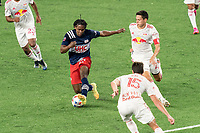 FOXBOROUGH, MA - MAY 22: DeJuan Jones #24 of New England Revolution on the attack during a game between New York Red Bulls and New England Revolution at Gillette Stadium on May 22, 2021 in Foxborough, Massachusetts.