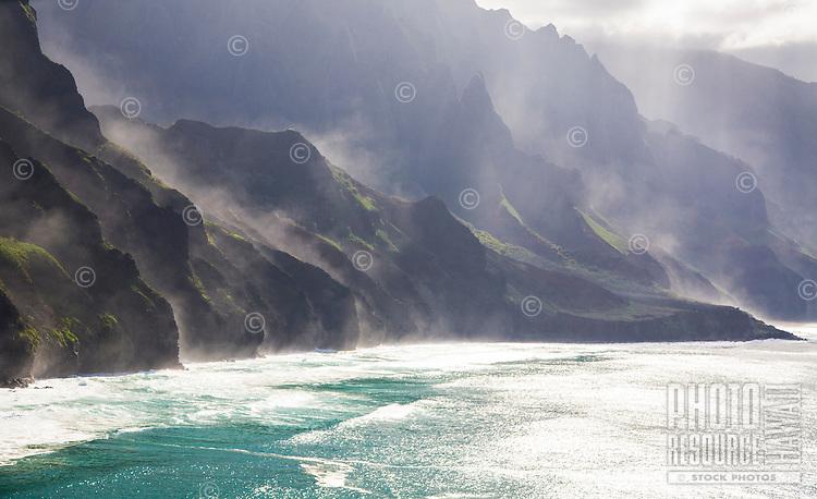 Ehukai mist on the Na Pali Coast, Kauai