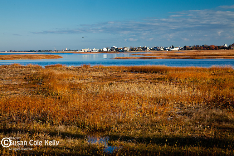 A view of the Great Marsh on Parker River in Newburyport, MA, USA