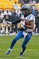 Duke wide receiver TJ Rahming. The Pitt Panthers football team defeated the Duke Blue Devils 54-45 on November 10, 2018 at Heinz Field, Pittsburgh, Pennsylvania.