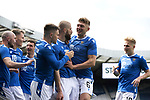 St Johnstone v Hibs…22.05.21  Scottish Cup Final Hampden Park<br />Shaun Rooney celebrates his goal with Liam Gordon, Glenn Middleton and Ali McCann<br />Picture by Graeme Hart.<br />Copyright Perthshire Picture Agency<br />Tel: 01738 623350  Mobile: 07990 594431