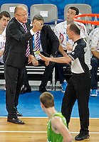 """Serbia`s national basketball team head coach Dusan Ivkovic argues with referee during European basketball championship """"Eurobasket 2013"""" classification basketball game from 5th to 8th place between Serbia and Slovenia in Stozice Arena in Ljubljana, Slovenia, on September 19. 2013. (credit: Pedja Milosavljevic  / thepedja@gmail.com / +381641260959)"""