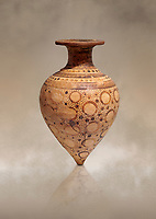 Minoan  decorated rhython libation vessel with ring design, Gournia 1600-1450 BC; Heraklion Archaeological  Museum.