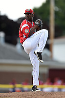 Batavia Muckdogs pitcher Alex Carreras (43) delivers a pitch during a game against the Mahoning Valley Scrappers on August 24, 2014 at Dwyer Stadium in Batavia, New York.  Mahoning Valley defeated Batavia 7-6.  (Mike Janes/Four Seam Images)