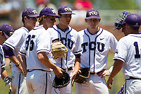 The TCU infield meets at the pitchers mound during the NCAA Regional baseball game against the Ole Miss Rebels on June 1, 2012 at Blue Bell Park in College Station, Texas. Ole Miss defeated TCU 6-2. (Andrew Woolley/Four Seam Images)