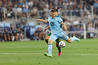 ST PAUL, MN - JULY 24: Robin Lod #17 of Minnesota United FC takes shot on goal during a game between Portland Timbers and Minnesota United FC at Allianz Field on July 24, 2021 in St Paul, Minnesota.