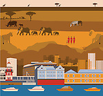 Tourist attractions of South Africa with African tribes and animals