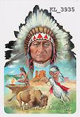 Interlitho, Luis, FANTASY, paintings, aztecs, horse, buffalo, KL, KL3935,#fantasy# illustrations, pinturas