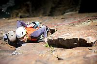 Jo Stadden on True Moments-Freebird E1 5b, Castell Helen, Gogarth South Stack, North Wales