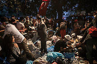 Volunteers work as they give medical support, food, water and provide the basic needs to the protesters gathering in Gazi park of Taksim Square during a 24/7 masive rally against the turkish government in Istanbul, Turkey.