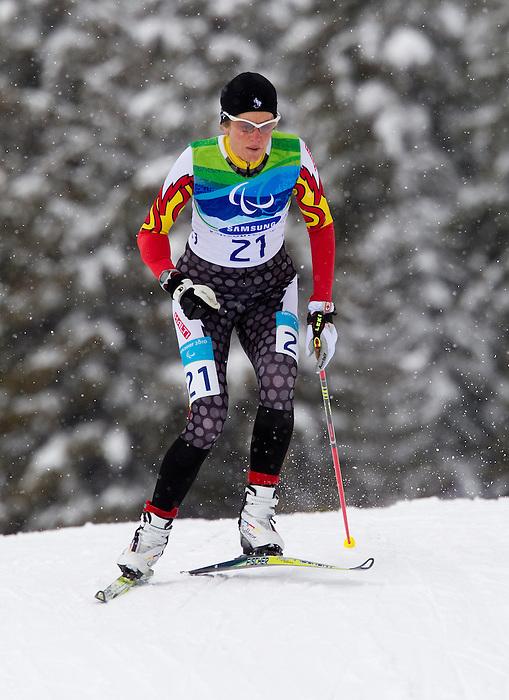 Jody Barber, Vancouver 2010 - Para Nordic Skiing // Ski paranordique.<br /> Jody Barber competes in Para Biathlon // Jody Barber participe en parabiathlon. 13/03/2010.