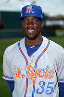 St. Lucie Mets pitcher Akeel Morris (35) poses for a photo before a game against the Bradenton Marauders on April 12, 2015 at McKechnie Field in Bradenton, Florida.  Bradenton defeated St. Lucie 7-5.  (Mike Janes/Four Seam Images)