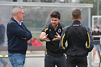 Leo Van Der Elst and headcoach Dennis Moerman of Club Brugge  pictured during a female soccer game between Club Brugge Dames YLA and RSC Anderlecht on the third matchday of the 2021 - 2022 season of Belgian Scooore Womens Super League , saturday 4 september 2021in Aalter , Belgium . PHOTO SPORTPIX   DIRK VUYLSTEKE