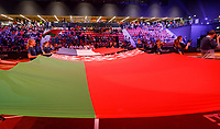 The Hague, The Netherlands, Februari 7, 2020,    Sportcampus, FedCup  Netherlands -  Balarus, Opening with flaggs<br /> Photo: Tennisimages/Henk Koster