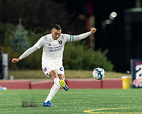 FOXBOROUGH, MA - AUGUST 7: Mateo Rodas #63 of Orlando City B clears the ball during a game between Orlando City B and New England Revolution II at Gillette Stadium on August 7, 2020 in Foxborough, Massachusetts.