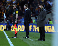 Pictured: (L-R) Phil Parkinson and Michael Laudrup.Sunday 24 February 2013<br /> Re: Capital One Cup football final, Swansea v Bradford at the Wembley Stadium in London.
