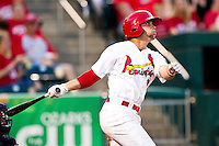 Greg Garcia (10) of the Springfield Cardinals follows through his swing during a game against the Arkansas Travelers at Hammons Field on May 5, 2012 in Springfield, Missouri. (David Welker/Four Seam Images)