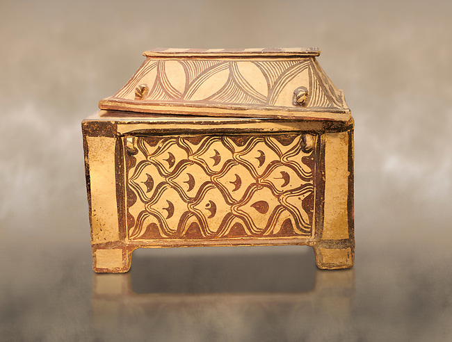 Minoan  pottery coffin chest coffin with gabled lid decorated with a net pattern,  Tylissos-Panokklisia 1350-1250 BC, Heraklion Archaeological  Museum.