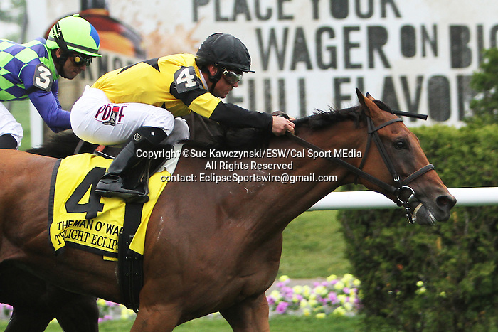 May 9 2015: Twilight Eclipse with Javier Castellano win the 57th running of the Grade I Man O War Stakes for 4-year olds & up, going 1 3/8 mile on the turf, at Belmont Park.  Trainer Thomas Albertrani. Owner West Point Thoroughbred. Sue Kawczynski/ESW/CSM