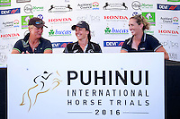 Interim results after teh CCI3* Dressage: 1ST: NZL-Amanda Pottinger with Just Kidding; 2ND: NZL-Diane Gilder with Your Attorney; 3RD: NZL-Donna Edwards-Smith with Mr Hokey Pokey. 2016 NZL-Puhinui International 3 Day Event. Puhinui Reserve, Auckland. Friday 9 December. Copyright Photo: Libby Law Photography