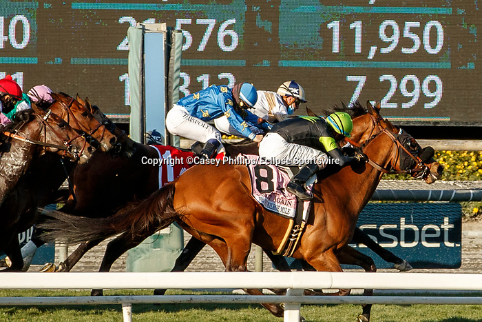 ARCADIA, CA  MARCH 6: #2 Hit the Road, ridden by Florent Geroux, (rail), holds off #1 Smooth Like Strait, ridden by Umberto Rispoli, and #8 Count Again, ridden by Juan Hernandez, to win the Frank E. Kilroe Mile (Grade l) giving trainer Dan Blacker his very first Grade l win,  on March 6, 2021 at Santa Anita Park in Arcadia, CA. (Photo by Casey Pnillips/ Eclipse Sportswire/ CSM)
