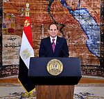 A handout picture provided by the Egyptian Presidency on April 25, 2019 shows Egyptian President Abdel Fattah al-Sisi give a speech during a ceremony of celebrating the 37th anniversary of the liberation of Sinai, in Cairo. Photo by Egyptian President Office