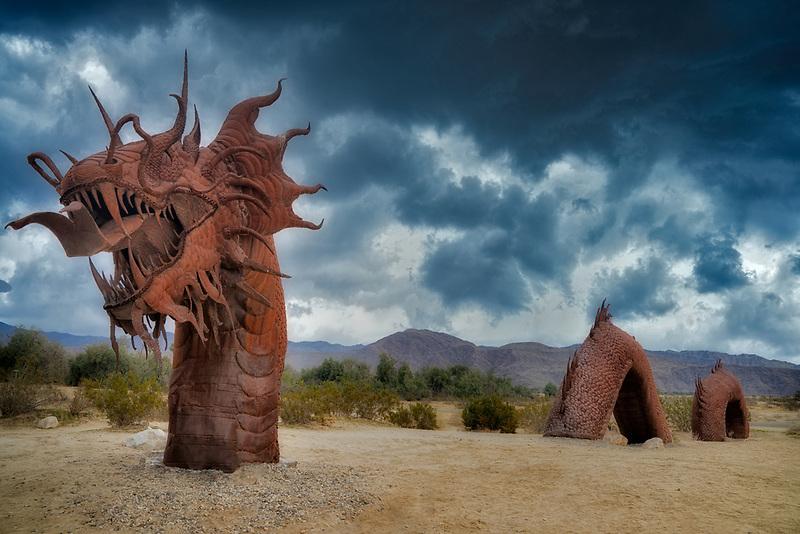 Galleta Meadows metal scuplture of dragon.  Borrego Springs, CA