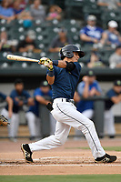 Shortstop Andres Gimenez (13) of the Columbia Fireflies bats in a game against the Charleston RiverDogs on Monday, August 7, 2017, at Spirit Communications Park in Columbia, South Carolina. Columbia won, 6-4. (Tom Priddy/Four Seam Images)