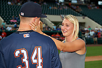 Tampa Yankees pitcher Andrew Schwaab (34) with his fiancé Lauren Stoeckle after proposing before the Florida State League All-Star Game on June 17, 2017 at Joker Marchant Stadium in Lakeland, Florida.  FSL North All-Stars defeated the FSL South All-Stars  5-2.  (Mike Janes/Four Seam Images)