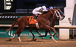 Will Take Charge, ridden by Luis Saez, noses out Game On Dude and Mike Smith at the wire to win the G1 Clark Handicap.<br /> November 29, 2013.