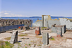 All that remains of Dickman Mill, a lumber mill established 1889 as a shingle mill by Abraham Young, on Tacoma's Commencement Bay, are ruins of piers and foundations, and the namesake Dickman Mill Park.  Commencement Bay with the Cascade Mountains in background, as seen from the south shore and Foss Waterway.  Commencement Bay's history of industry and shipping has led it to designation as a Superfund Cleanup Site and one of the most polluted waterways in the nation.  Commencement Bay Nearshore/Tideflats (CB/NT) Superfund Site.