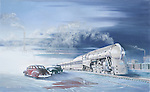 "The 20th Century Limited, flagship passenger train of the New York Central Railroad, in 1940's winter snow. Oil on canvas, 15"" x 24""."