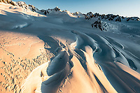 Large crevasses of upper parts of Franz Josef Glacier at sunset, Westland Tai Poutini National Park, West Coast, UNESCO World Heritage Area, New Zealand, NZ