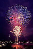 AJ1001, Vermont, firework, Burlington, A firework display over Lake Champlain waterfront on Fourth of July in Burlington.