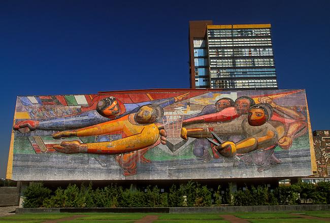Mural by David Alfaro Siqueiros on Administration Building, National Autonomous University of Mexico (UNAM), Mexico City, Mexico, North America