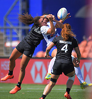 Stacey Fluhler tackles Caroline Drouin high to earn a yellow card. New Zealand v France women's semifianl. Day two of the 2020 HSBC World Sevens Series Hamilton at FMG Stadium in Hamilton, New Zealand on Sunday, 26 January 2020. Photo: Dave Lintott / lintottphoto.co.nz