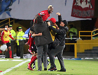BOGOTA-COLOMBIA-19-02-2013 .Jugadores  de Tijuana de México celebran el  gol anotado por Richard Ruiz  contra   Los Millonarios de Colombia durante el encuentro  por el  grupo cinco  de  la ronda de clasificación de la Copa Bridgestone Libertadores . . Tijuana Mexico's players celebrate the goal scored by Richard Ruiz against the millionaires of Colombia during the meeting by the group five of the qualifying round of the Copa Libertadores Bridgestone .  ( Photo / VizzorImage / Felipe Caicedo / Staff