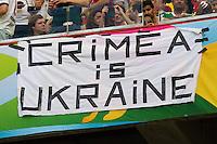 A banner saying Crimea is Ukraine