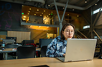 Alaska Native Science and Engineering Program (ANSEP) student Katherine Sakeagak, who is double majoring in math and civil engineering, working on research in UAA's ANSEP Building. Sakeagak's father was part of the first group of ANSEP students.