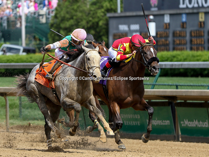 April 30, 2021 : Obligatory, #7, ridden by jockey Jose Ortiz, wins the Eight Belles Stakes Kentucky Oaks Day at Churchill Downs on April 30, 2021 in Louisville, Kentucky. Candice Chavez/Eclipse Sportswire/CSM